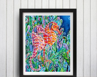 Seahorse Art Print, Nautical Decor, Beach house decor, Tropical art