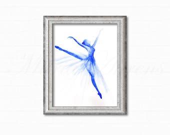 Original Watercolor Painting, Blue Ballet Dancer Painting, Dance Painting, Gifts for Her, Gift for Dancer, Home Decor, Office Decor, 9x12