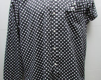 Black and White Polka Dot Mod Button-Down Shirt