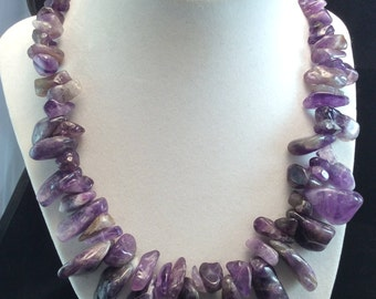 Stunning Sterling silver Large Chunky Amethyst Nugget Necklace, Ladies Amethyst Nugget Necklace