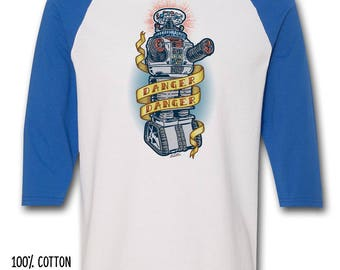 """DANGER DANGER - Vintage """"Tattoo"""" style - Lost In Space Robot shirts - 100% Cotton T-Shirt & Jersey"""