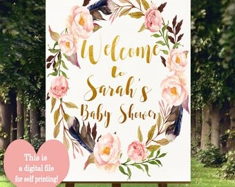 Boho Welcome sign, Printable Welcome sign, Customised Welcome sign, Welcome to baby shower,  Boho Baby shower decorations, Bo-Ho