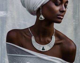 Tribal necklace, boho jewellery, green stone silver necklace, tribal jewellery, statement jewellery, statement necklace, triangle earrings