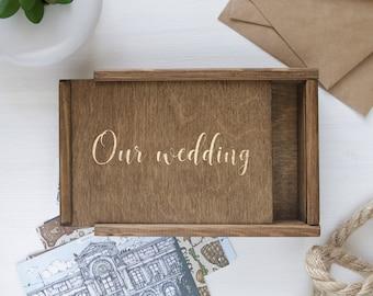 "Personalized Custom Engrave Wedding Photo Box 4""x6"" 5x7 6x8 (10x15 cm 13x18 15x20) Pic, Engraved Unfinished Wood Keepsake Box, boite en boi"