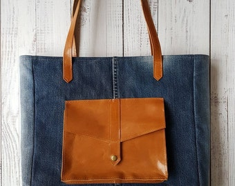 Leslie recycled jeans - genuine leather tote bag