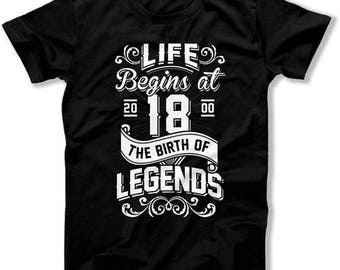 Funny Birthday Gifts 18th Birthday T Shirt For Him Bday Present Custom Age Life Begins At 18 Years Old The Birth Of Legends Mens Tee DAT1332