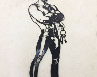 Tom of Finland inspired Gay Leather Fetish Metal Wall Art.