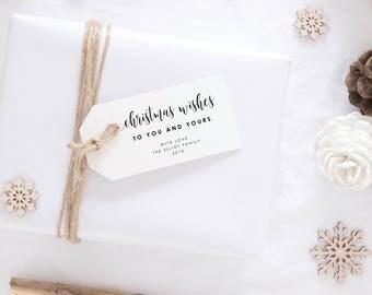 Christmas Gift Tag-Printable Gift Tag -Editable PDF-DIY Template-Favor Tag-Holiday Tag-Christmas Wishes-Holiday Label-Xmas Tag-SN022_XGT