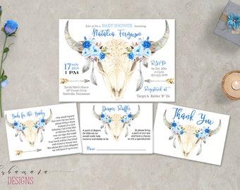 Deer Skull Baby Shower Invitation Set Tribal Blue Boy Baby Shower Invite Blue Floral Antlers Invitation Feathers Arrows Invitation - CS031