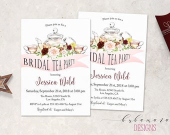 Bridal Shower Tea Party Invitation Set Pink Burgundy Teapot Bridal Invite Summer Floral Boho Marsala Advice Recipe Shower Cards - BS017