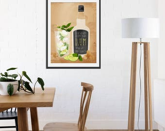 Mojito Print. Rum Print. Rum Gift. Drinks Print. Alcohol Gift. Wall Art. Wall Decor. Bar Gift.