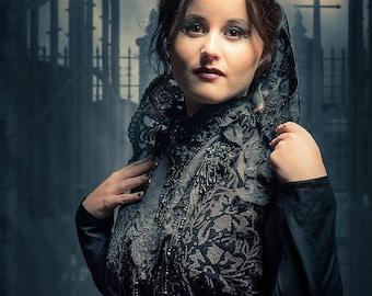 Vampire gothic Crown Black Crown Evil queen crown black crown fascinator tiara Cosplay crown Lace Crown Headband Gothic headpiece swan crown