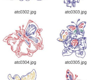 Flowers and Butterflies ( 10 Machine Embroidery Designs from ATW ) XYZ17E