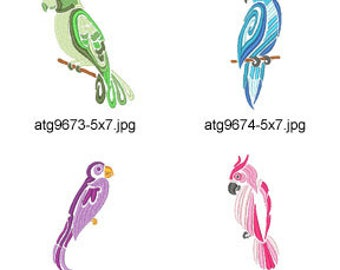 Pretty-Parrots ( 8 Machine Embroidery Designs from ATW ) XYZ17F