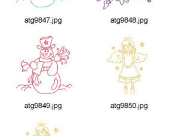 Snowmen-and-Angels-Redwork-2 ( 5 Machine Embroidery Designs from ATW ) XYZ17G