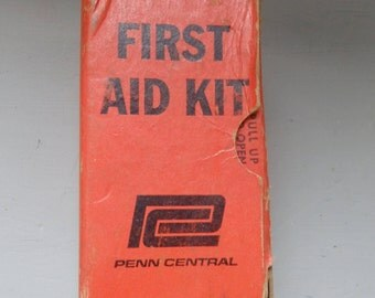 vintage Penn Central First Aid Kit Railroad First Aid Kit Locomotive Train  PCRR