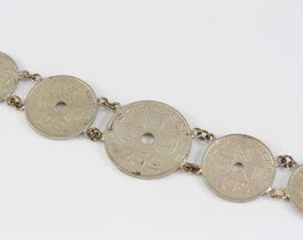 Vintage Belgian Coin Bracelet, Centime Coin Bracelet, Belgium Bracelet, 1920's - 1930's Coins Bracelet