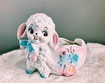 Vintage Baby Lamb Planter / Ceramic Nursery Decor Plant Holder / Trinket Dish / Catchall