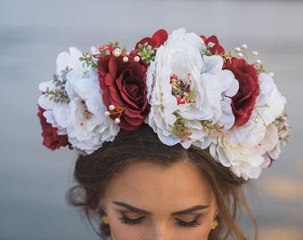 Flower Crown Adult Floral halo Bright Large White Red Peony wreath Fairy Costume Bridesmaids Boho Bold Bridal Wedding Rustic flower crown