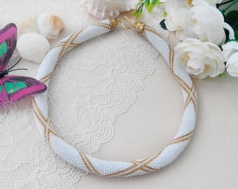 Anniversary gift for wife Chunky delicate necklace Unique elegant White tribal jewelry Wedding gift for bride Beaded crochet necklace white