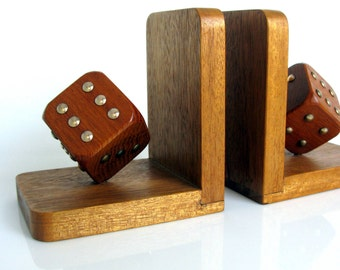 Mid Century / Wooden Dice Bookends / Pair / Germany / Modern / Dice / Oak / Rosewood / Brass / 1950s / Mad Men / Man Cave / Book Lover Gift