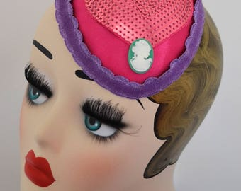 Pillbox Hat Fascinator Pink Hearts Camey Millinery Bibi