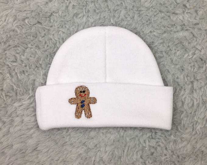 Christmas baby beanie with embroidered gingerbread man - micro preemie hat, preemie hat newborn hat - Christmas hat for baby, NICU Christmas