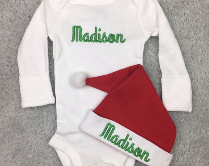 Personalized newborn Christmas outfit - preemie Christmas outfit, Christmas preemie clothes, Christmas newborn clothes, Christmas baby gift