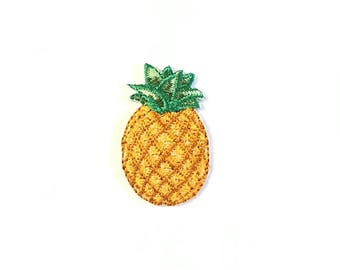 Pineapple embroidered jacket patch. Pillow, personalized, craft, crafting, diy, fruit, illustrations, designs, yellow, green, tropical