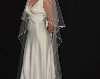 """Two-Tier 30""""/90"""" Oval Gather Center Top Chapel Veil  with 1/8"""" Flat Satin Ribbon Edge"""