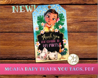 Thank you tags Moana BABY,Moana birthday invitation, moana birthday, moana thank you TAGS, moana party, moana, moana tags