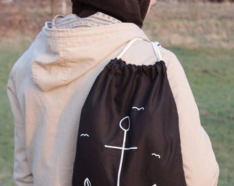 "Bye with ö-bag ""Ahoy!""-turn bag black with anchor-bag-cotton-hand painted-maritime, sea, travel, seagulls"