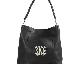 Monogrammed Black bucket bag 2in1 gold tone hardware, personalized purse