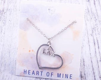 Customizable! Heart of Mine: LAX Lacrosse Necklace - Great Lacrosse Gift!