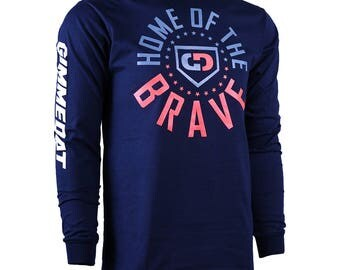 Home of the Brave Long Sleeve Softball T-Shirt, Softball Shirts, Softball Gifts - Free Shipping!