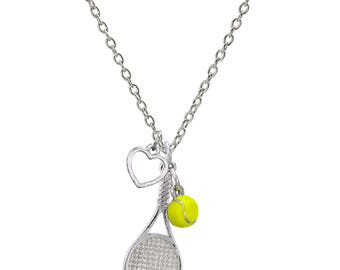 Customizable Tennis Racket Heart Necklace with Mini Tennis Ball - Personalize with Heart Charm or Letter Charm! Great Tennis Gift!
