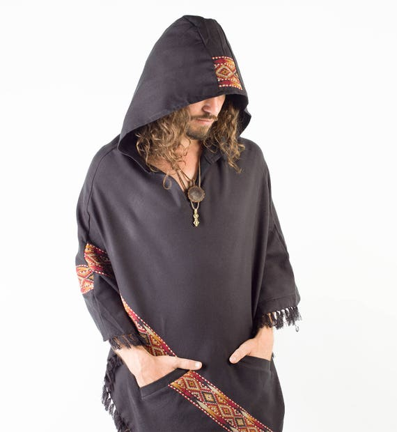 Black Mens Poncho Yak Wool Handmade with Large Hood and pockets, Earthy Tribal Pattern Festival Gypsy AJJAYA Mexican Primitive Alternative