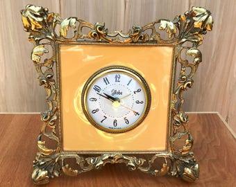 Vintage Clock, Globe Alarm Clock, Ornate Globe Alarm Clock, Vintage Alarm Clock, Hollywood Regency, Clock for Bedroom, Vintage Bedroom Clock