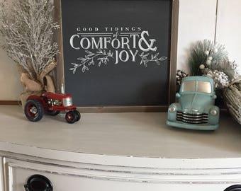 Good Tidings of Comfort & Joy Sign, Christmas Decor, Christmas Signs Wood, Farmhouse Christmas Signs, Rustic Christmas Decor, 12x12 sign
