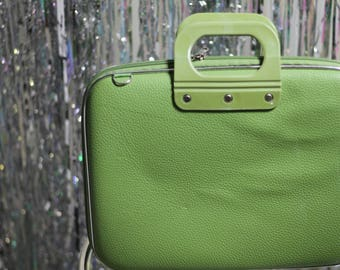 70's Faux Leather Green Computer Bag *Excellent Condition