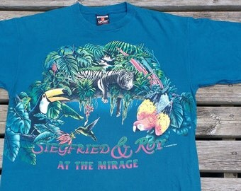 """Vintage 90's Siegfried & Roy """"At the Mirage"""" tropical birds double-sided print Made in USA L"""