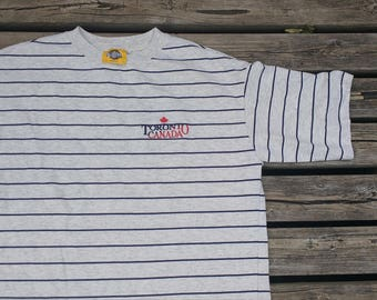 Vintage 80's Toronto, Canada Souvenir grey dark blue striped t-shirt Made in Canada Large