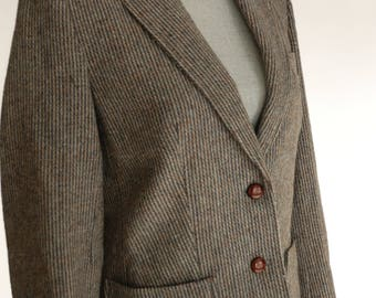 Vintage 1970s Tweed Fitted Blazer | 70s Women's Wool Blazer | Brown Grey Blue Beige Tweed Two-Button Preppy Riding Jacket | Size Small - Med