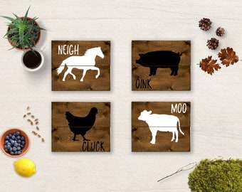 Farmhouse sign, Farmhouse Decor, Farm Animal Rustic Decor, Kitchen Sign, Pig Sign, Chicken Sign, Horse Sign, Cow Sign, Wall Hanging Set