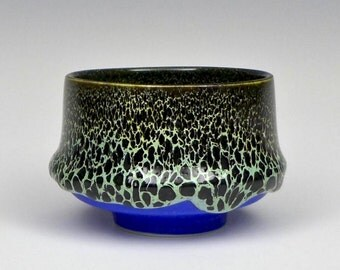 Handmade Deep Blue Porcelain Oil Spot Tea Bowl