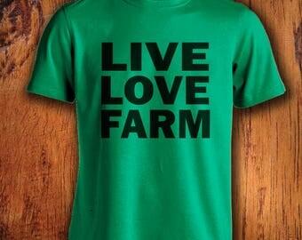 Men's Farm Tshirt Live Love Farm shirt farmer shirt farming shirt shirt for farming  shirt for farmerChristmas Gift