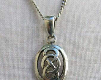 Vintage silver Celtic knot pendant on a silver chain Kit Heath