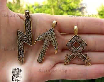 Viking rune pendant . Viking jewerly. Viking pendant. Othala rune. Elder futhark. Wolf head