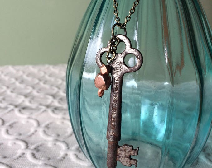 Large Skeleton Key Necklace, copper accent bead and brass chain