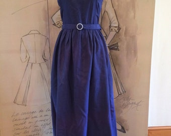 Steel blue vintage 70's Vivien Smith full length dress- special occasion dress- wedding- approx size 8-10 - matching belt